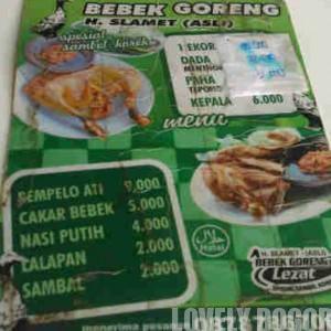Daftar Menu Bebek Goreng Haji Slamet Bogor