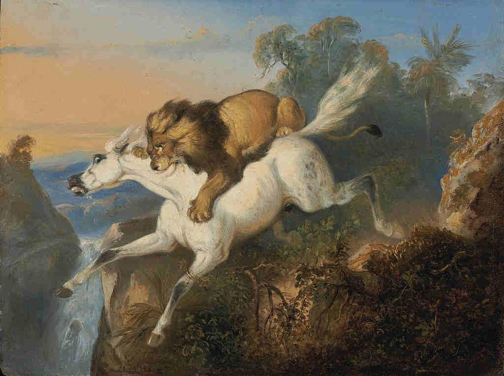 Lukisan Singa Menyerang Kuda Karya Raden Saleh