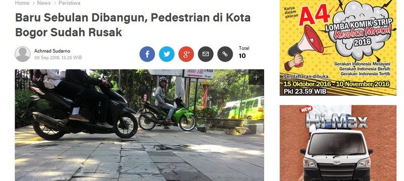 Penggunaan Kata Pedestrian Yang Salah
