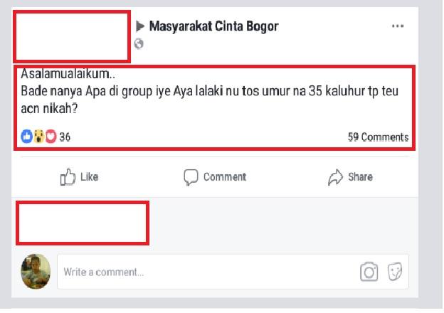 Mencari teman hidup lewat komuniast dunia maya Masyarakat Cinta Bogor di Facebook