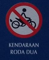 Tata Tertib Pengunjung Kebun Raya Bogor - Dilarang Menggunakan Kendaraan Roda Dua=Sepeda Motor