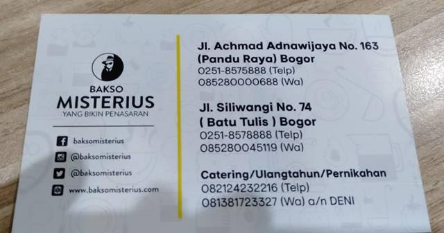 alamat dan nomor telpon bakso misterius bogor