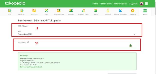 Cara Bayar Pajak Kendaraan Bermotor Dengan Kartu Kredit Lewat e-Samsat Online Tokopedia 2-APLIKASI SAMBARA - Menu esamsat B
