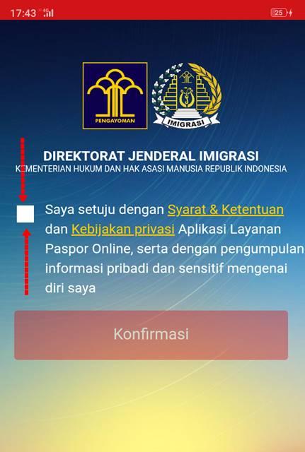 layar persetujuan syarat dan ketentuan aplikasi layanan paspor online