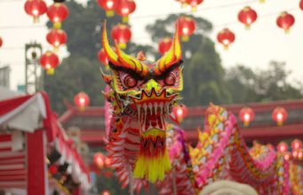 The dragon dance in Bogor Chinese New Year A